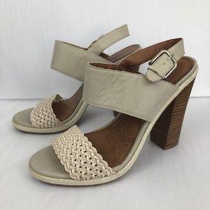 Lucky Brand Leather Putnam Sandals Block Heel